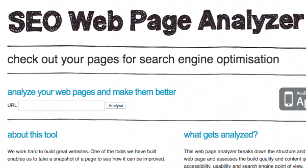 SEO webpage analyzer
